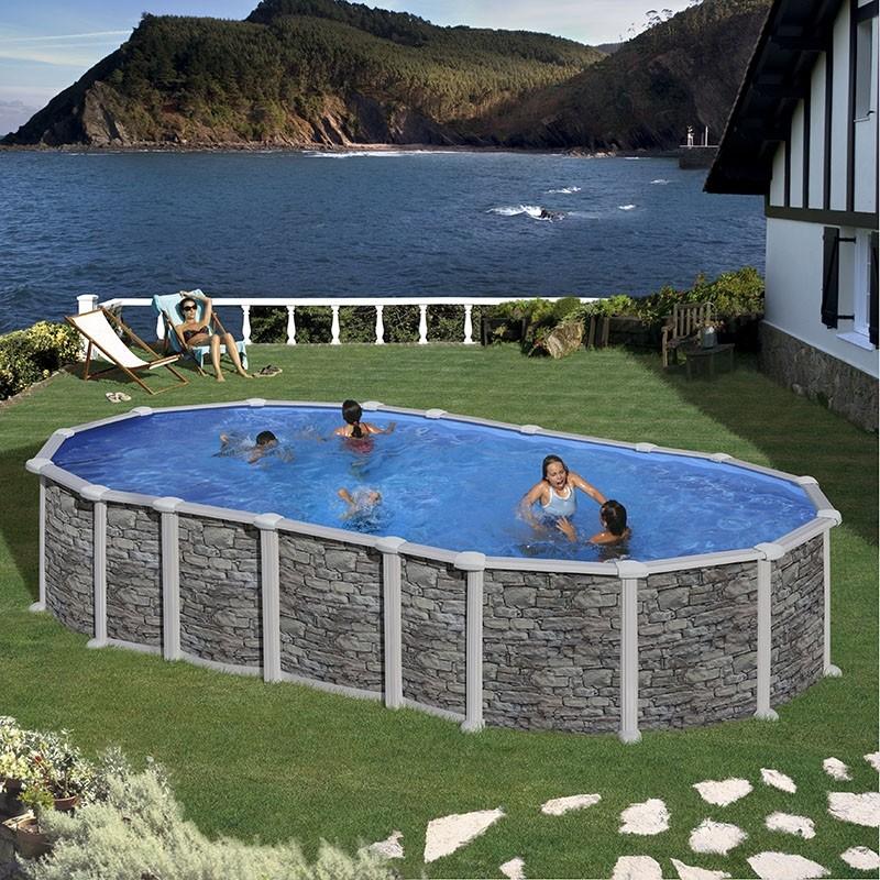 Piscina fuoriterra rigida ovale santorini 6188 piscine - Piscine esterne rigide ...